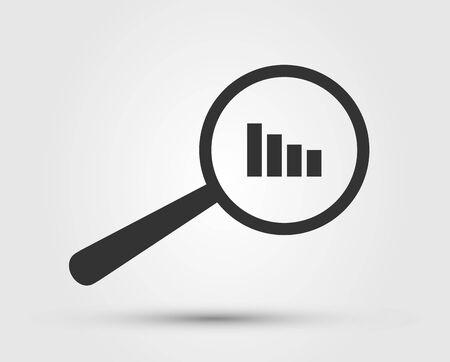 Icona della lente di ingrandimento - Ricerca, trova il vettore dell'icona. Lente, lente d'ingrandimento, segno di lente d'ingrandimento. Illustrazione del simbolo di ricerca. Analisi dei dati. Statistica.