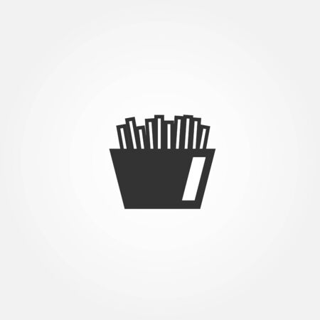 French fries icon. Flat fast food icon design. Black and white. Vector illustration.