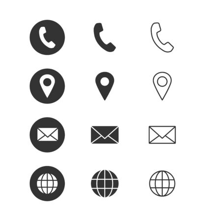 Contact info - icon set. Isolated on white background. Vector illustration.