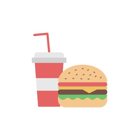 Burger/Hamburger and soda icons - flat design. Fast food symbols. Isolated on white background. Vector illustration. Ilustração