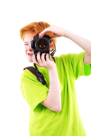 Red teen photographes. The white background isolated photo