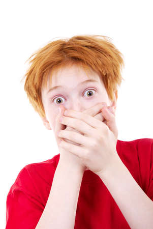 Red teen was frightened. The white background isolated Stock Photo - 2640513