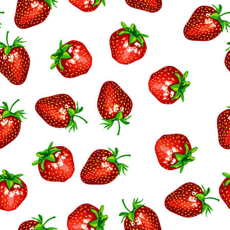 Pattern with a strawberry on a white background. The raster version of a vector illustration illustration