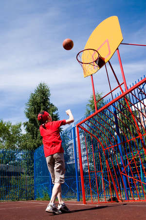 Basketball on childrens athletic field
