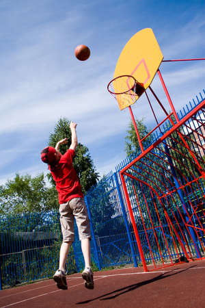 Basketball on childrens athletic field photo