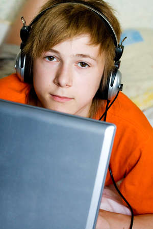 A serious teenager with a laptop Stock Photo - 4032831