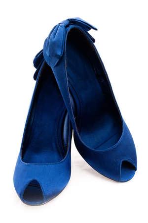 dark blue shoes. Isolated, white background photo