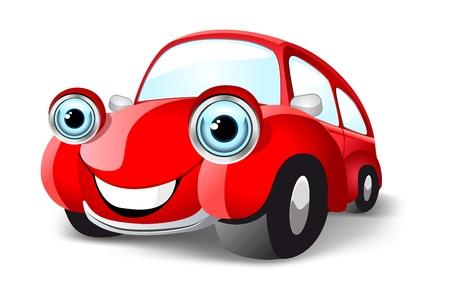 Coche rojo divertido. Ilustración vectorial