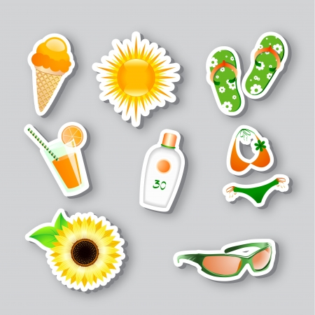 set of icons on the summer theme