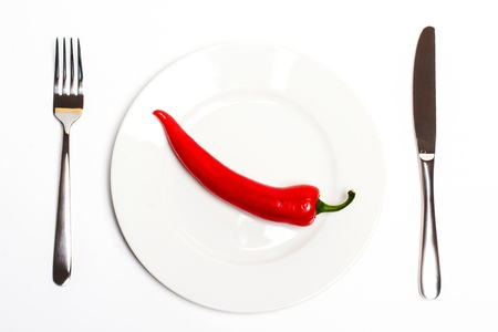Red hot chili pepper on a plate photo
