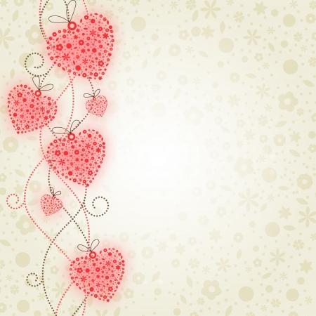 San Valentino illustrazione: Cuori di fiori. Contiene oggetti trasparenti (il bagliore rosso di cuori e fiori su uno sfondo) Vettoriali