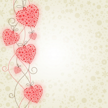 Valentine illustration: hearts of flowers. Contains transparent objects (the red glow of hearts and flowers on a background)