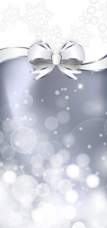 White bow  on a shines silver and white background. Vector illustration
