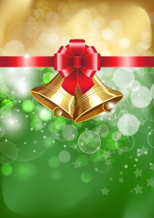 Jingle bells with red bow on a shines background. Vector illustration
