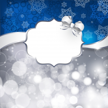 White label  on a shines silver and blue background. illustration