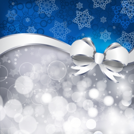 White bow  on a shines silver and blue background