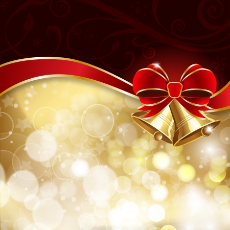 Jingle bells with red bow on a shines background.illustration