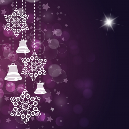 Violet christmas background with bells and stars. Vector Illustration