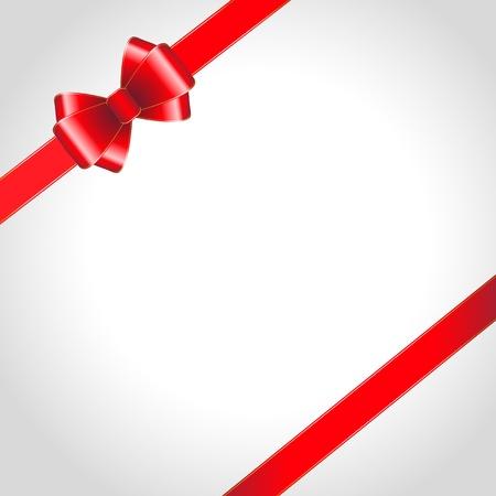 Red ribbon bow on shined background  illustration