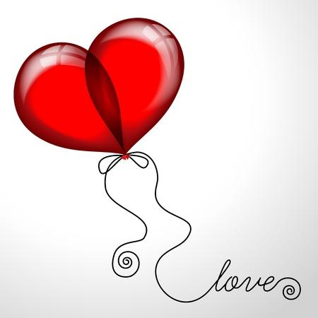 Heart made of balloons.  illustration Illustration
