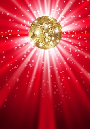 光輝くゴールド ディスコ ボール。ベクトル