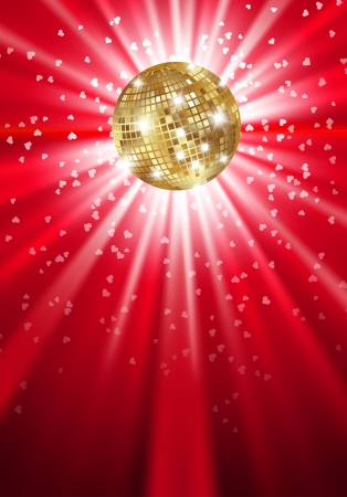 Glowing gold disco ball on a light. Vector
