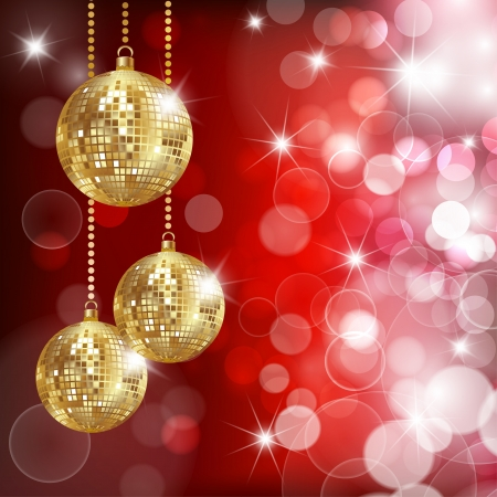 Festive background with three disco balls and glares.