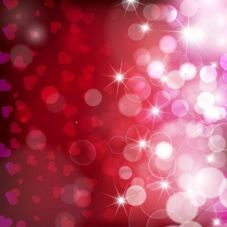 Festive red background with hearts bokeh and glares.