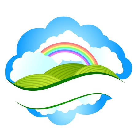 Summer landscape with meadows and trees on a cloudy sky and rainbow. illustration Illustration