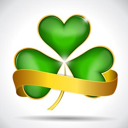 Clover leaf   gold ribbon