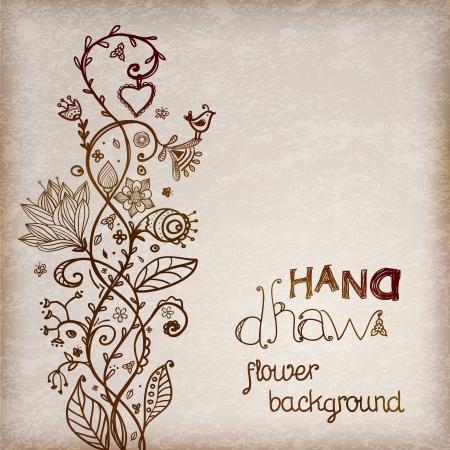 Hand drawing floral background brown tones illustration