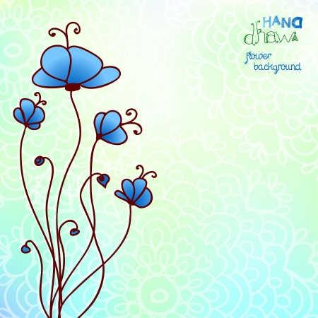 Hand drawing blue floral background. Vector illustration