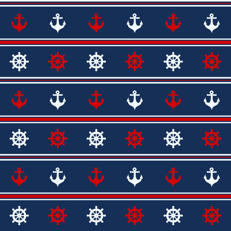 Seamless pattern with nautical elements. Vector illustration Illustration