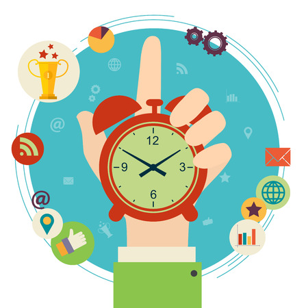 Flat design illustration concept for time management. Hand hold clock.