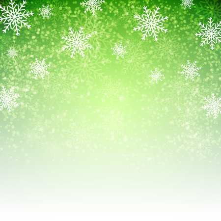 Green background with  snowflakes. Vector illustration for  posters, icons, greeting cards, print and web projects.