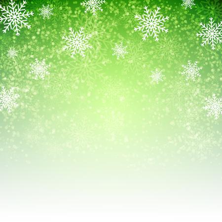 Fondo verde con los copos de nieve. Ilustración del vector para carteles, iconos, tarjetas de felicitación, impresión y proyectos web. Ilustración de vector