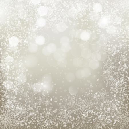 Silver background with  snowflakes. Vector illustration for  posters, icons, greeting cards, print and web projects. Vettoriali