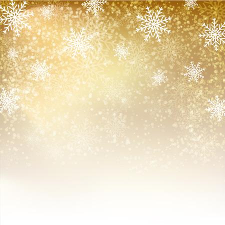 Fond d'or avec des flocons de neige. Vector illustration d'affiches, des icônes, des cartes de voeux, d'impression et de projets web. Banque d'images - 47896009