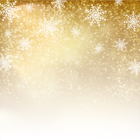 Gold background with  snowflakes. Vector illustration for  posters, icons, greeting cards, print and web projects. Ilustração