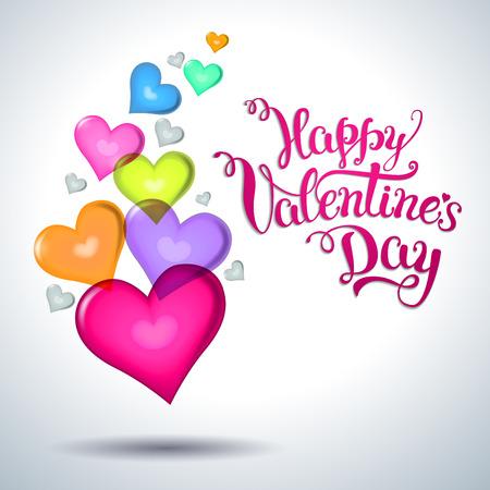 Varios corazones multicolores y día de las letras a mano original de San Valentín feliz. Ilustración del vector para Pósteres San Valentín, iconos, tarjetas de felicitación día de San Valentín, día de San Valentín de impresión y proyectos web. Ilustración de vector