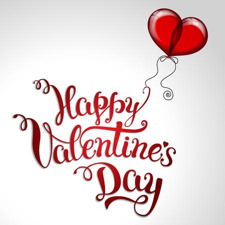 """Dos impulso rojo y las letras a mano original """"día de San Valentín feliz"""". ilustración vectorial para el día de San Valentín carteles, iconos, tarjetas de felicitación del día de San Valentín, día de San Valentín de impresión y proyectos web."""