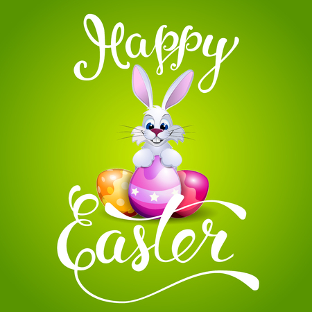 Easter greeting card with Easter eggs and handwritten text Happy Easter. Vector illustration for  posters,   greeting cards, print and web projects.
