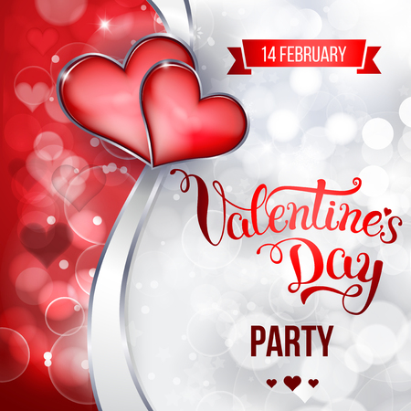 Original hand lettering Valentines day party. Vector illustration for Valentines day posters, icons, Valentines day greeting cards, Valentines day print and web projects. Çizim