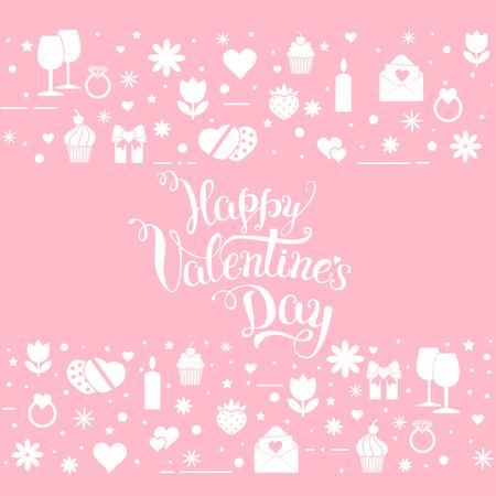 """Origineel hand letters """"Happy Valentine's day 'met Valentijnsdag symbolen. Sjabloon van Valentijnsdag poster, pictogram, Valentijnsdag wenskaart, Valentijnsdag print en web-projecten. Stock Illustratie"""