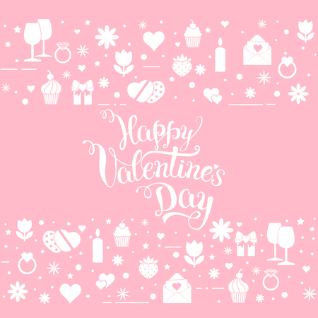 Original hand lettering Happy Valentines day with Valentines day symbols. Template of Valentines day poster, icon, Valentines day greeting card, Valentines day print and web projects.