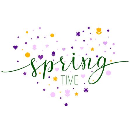 stile piatto cuore floreale con testo originale Spring Time. Illustrazione per poster, biglietti di auguri, stampe e progetti web.