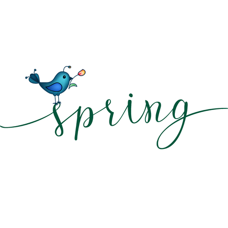 Spring greeting card with blue bird and original handwritten spring greeting card with blue bird and original handwritten text spring vector illustration for posters m4hsunfo