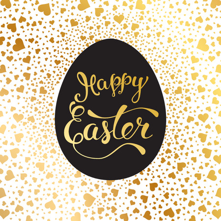 Easter greeting card with  Easter egg and original handwritten text Happy Easter. Vector illustration for posters, greeting cards, print and web projects. Illustration