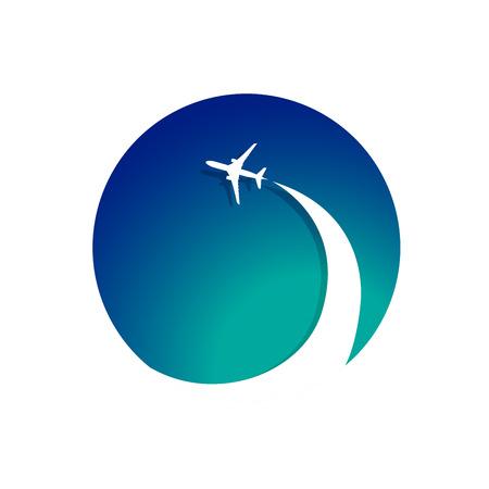 Avión con corriente en chorro avión. Ilustración para el logotipo de impresión de carteles y agencias de viaje proyectos web, empresas de aviación. Logos