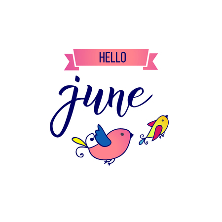 Original hand lettering Hello June and little birds. Ilustrace